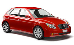 3D Generated Red Car. 3D generated red shiny car stock photo