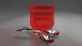 Two spoons and red glass. 3D generated scene with a red transparent glass and two metal spoons Stock Photo
