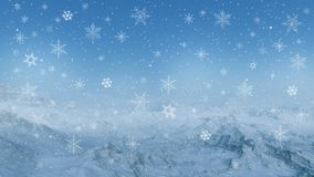 3d generated winter landscape: Misty mountains Royalty Free Stock Photos
