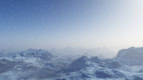 3d generated winter landscape: Misty mountains in the snow. Royalty Free Stock Photography