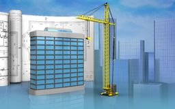 3d of generic building. 3d illustration of generic building with drawings over skyscrappers background Stock Photography