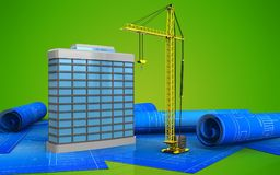 3d generic building. 3d illustration of generic building over green background Royalty Free Stock Image