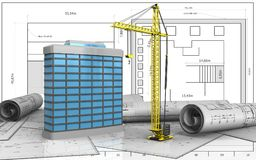3d of generic building. 3d illustration of generic building over blueprint background Stock Photography