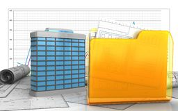 3d of generic building. 3d illustration of generic building over business graph background Royalty Free Stock Photos