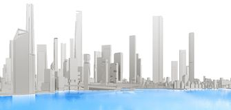 3d generic city with blue lake. On white background 3D illustration Stock Photography