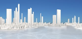 3d generic city with frozen  lake and blue sky. 3d generic city with frozen lake and blue sky 3D illustration Royalty Free Stock Image