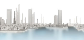 3d generic city with frozen lake. On white background 3D illustration Royalty Free Stock Images