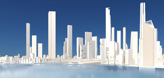 3d generic city with lake and blue sky. 3D illustration Royalty Free Stock Image