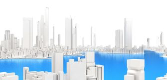 3d generic city with lake. On white background 3D illustration Royalty Free Stock Images