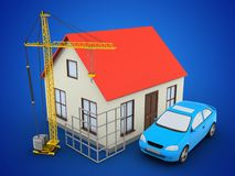 3d generic house. 3d illustration of generic house over blue background with car and construction site Stock Photography