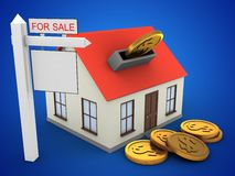 3d generic house. 3d illustration of generic house over blue background with coins and sale sign Stock Images