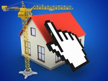 3d generic house. 3d illustration of generic house over blue background with cursor and crane Stock Images