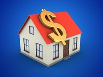 3d generic house. 3d illustration of generic house over blue background with dollar sign Stock Photo
