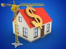 3d generic house. 3d illustration of generic house over blue background with dollar sign and crane Royalty Free Stock Image
