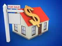 3d generic house. 3d illustration of generic house over blue background with dollar sign and sale sign Stock Photos