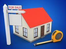3d generic house. 3d illustration of generic house over blue background with ruler and sale sign Stock Photos