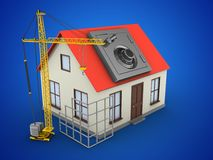 3d generic house. 3d illustration of generic house over blue background with safe and construction site Stock Image