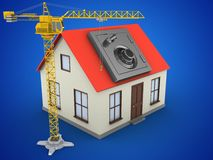 3d generic house. 3d illustration of generic house over blue background with safe and crane Royalty Free Stock Photography
