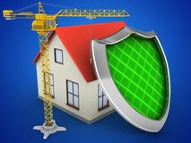 3d generic house. 3d illustration of generic house over blue background with shield and crane Royalty Free Stock Images