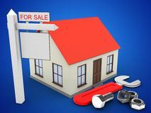 3d generic house. 3d illustration of generic house over blue background with wrench and sale sign Royalty Free Stock Images