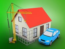 3d generic house. 3d illustration of generic house over green background with car and construction site Stock Photo