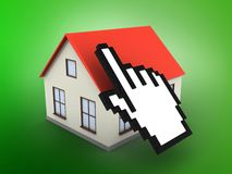 3d generic house. 3d illustration of generic house over green background with cursor Stock Photos