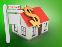 3d generic house. 3d illustration of generic house over green background with dollar sign and sale sign Royalty Free Stock Photo