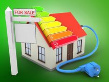 3d generic house. 3d illustration of generic house over green background with power ranks and sale sign Stock Photography
