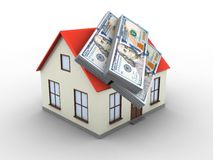 3d generic house. 3d illustration of generic house over white background with money Royalty Free Stock Photography
