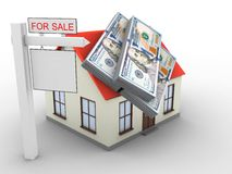 3d generic house. 3d illustration of generic house over white background with money and sale sign Royalty Free Stock Photography