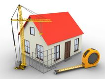 3d generic house. 3d illustration of generic house over white background with ruler and construction site Royalty Free Stock Images