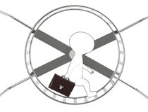 3d generic outlined guy holding a briefcase in hand and walking inside a hamster wheel Stock Photography