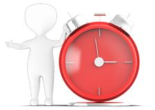 3d generic outlined guy presenting a large table clock Royalty Free Stock Photos