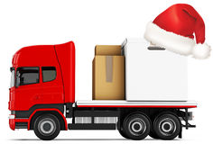3d generic truck with gift box and hat. On white background Royalty Free Stock Photo