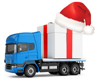3d generic truck with gift box and hat. On white background Royalty Free Stock Image