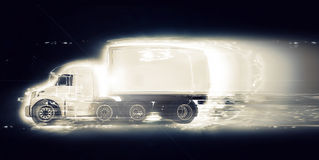 3D generic truck with speed effect Royalty Free Stock Images