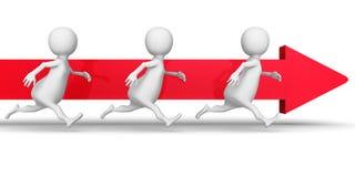 3d gente bianca Team Running Forward Arrow Raggiro di affari di successo royalty illustrazione gratis