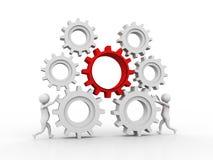 3d gente - hombre, mecanismo del hombre de negocios y de engranaje, representación 3D stock de ilustración