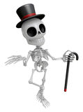 3D Gentleman Skeleton Mascot is a stick dance Brandishing. 3D Sk Royalty Free Stock Photography
