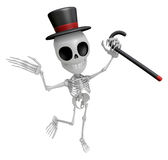 3D Gentleman Skeleton Mascot is a stick dance Brandishing. 3D Sk Royalty Free Stock Images