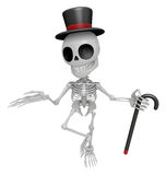 3D Gentleman Skeleton Mascot is a stick dance Brandishing. 3D Sk Royalty Free Stock Photo
