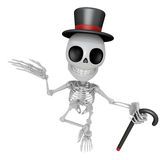 3D Gentleman Skeleton Mascot is a stick dance Brandishing. 3D Sk Royalty Free Stock Photos