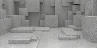 3D Geometric Abstract Cuboid Wallpaper Background. Render of 3D Geometric Abstract Cuboid Wallpaper Background royalty free stock photography
