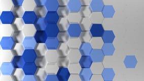 3D Geometric Abstract Hexagonal Wallpaper Background. Render of 3D Geometric Abstract Hexagonal Wallpaper Background stock photo
