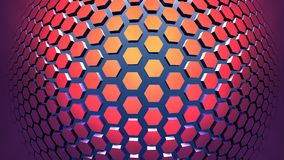 3D Geometric background from red hexagons. 3D illustration Royalty Free Stock Photo