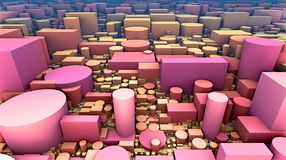 3D geometric multiple shapes, cubes, cylinders and rectangles Stock Image