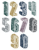 3d geometric numbers with halftone dots textures. Royalty Free Stock Images