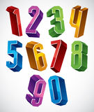3d geometric numbers set in blue and green colors. 3d geometric numbers set in blue and green colors, colorful glossy numerals for advertising and web design Royalty Free Stock Photography