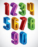3d geometric numbers set in blue and green colors. 3d geometric numbers set in blue and green colors, colorful glossy numerals for advertising and web design Stock Photos