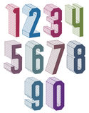 3d geometric numbers set in blue and green colors. Royalty Free Stock Image